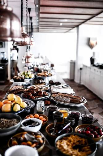 The breakfast buffet served daily using local produce