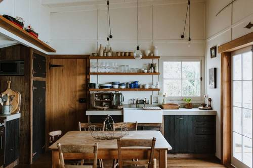 The rustic kitchen and dining area