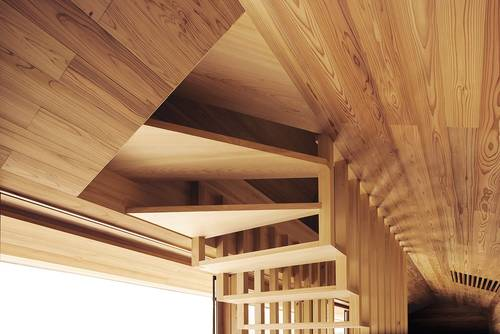 Beautiful detail of the Cedar staircase to the bedrooms