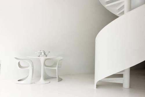 The stunning white staircase