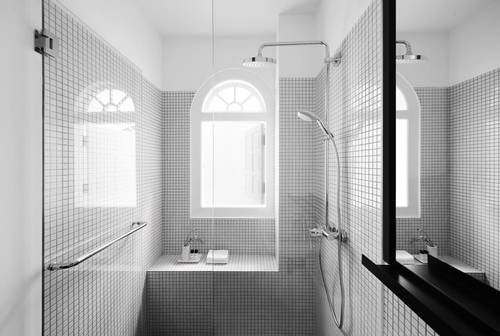 The stunningly stark, white bathroom
