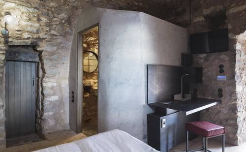 The rooms are built from ancient stones