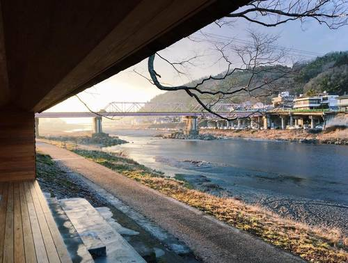 View across the river from the Yoshino Cedar House. Photo by @365donairbnb