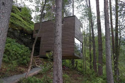 One of the two cabins built into the hillsides
