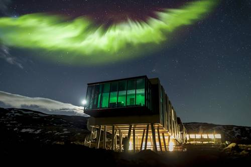 Aurora Borealis (Northern lights) over the hotel