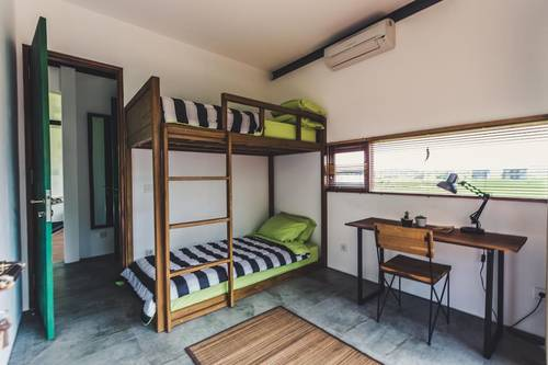 The green room, with two bunk beds