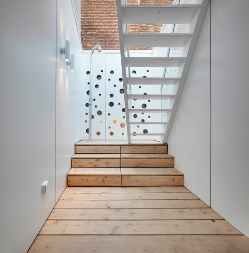 The stairwell and outdoor shower