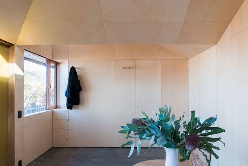 The interior of the apartment is finished in plywood