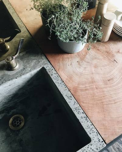 Concrete sink with inset wood block
