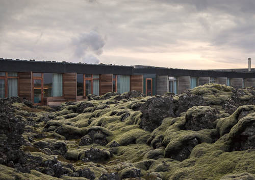 The exterior of the hotel naturally blends into the surrounding landscape