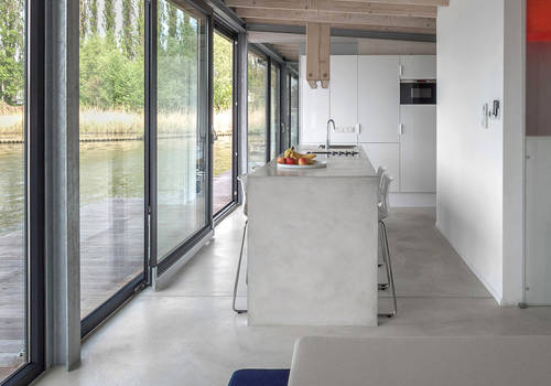 Modern and spacious kitchen in the houseboat