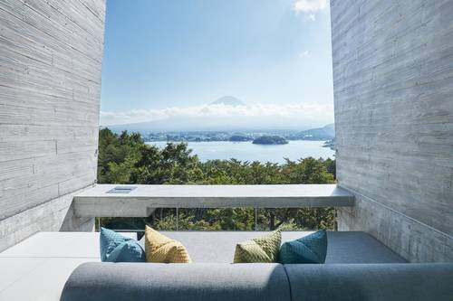 Hazy view of Mt Fuji from one of the rooms