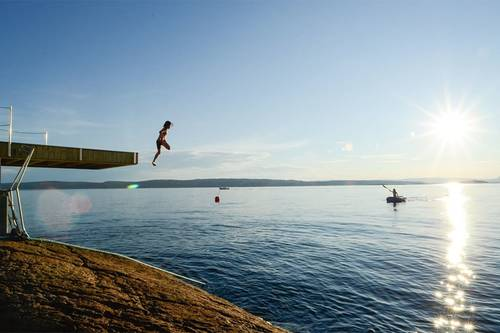 Jump off the dock straight out into the Fjord