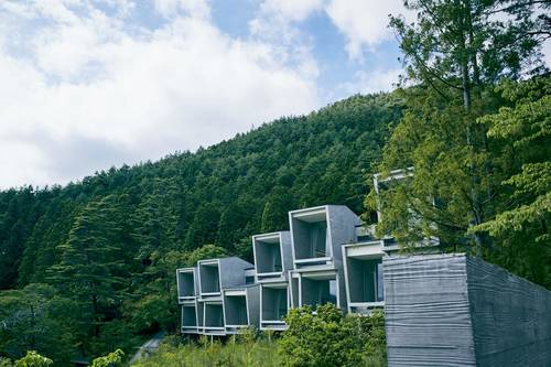 View of the cabins on the hillside