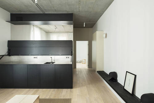 Kitchen hides away into a counter top