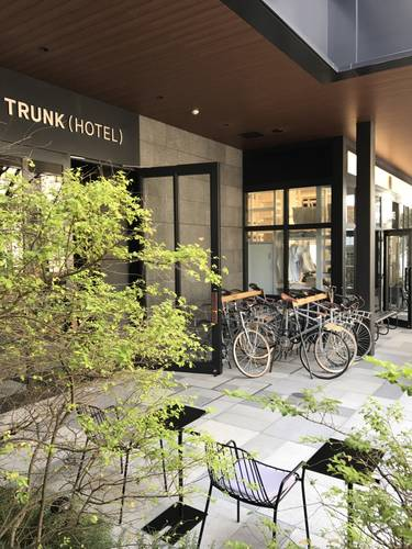 The entrance to Trunk (Hotel) with cute little bicycles for hire.