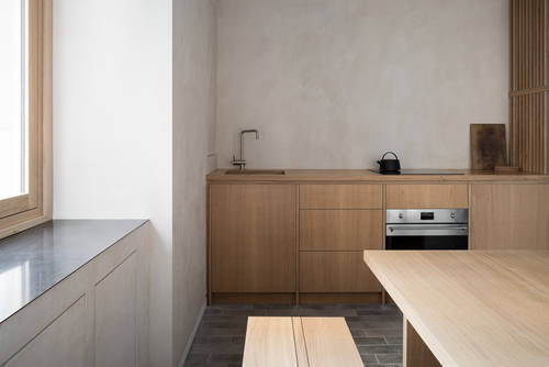 The small timber kitchen and dining table