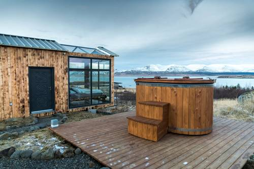 The cabin comes with its own heated hot tub