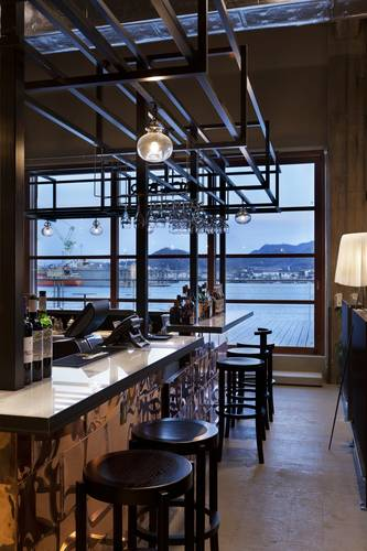 The hotel bar overlooking the harbour