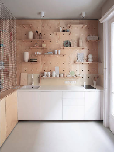 The small, yet functional kitchen