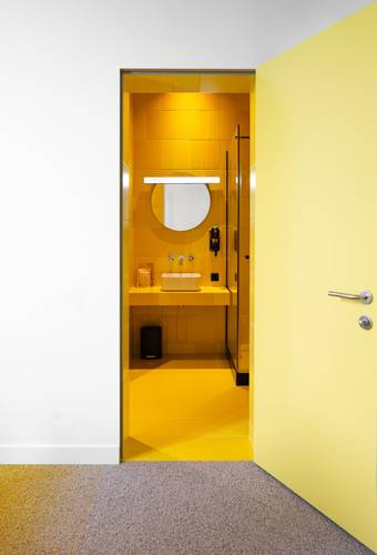 A bright yellow bathroom