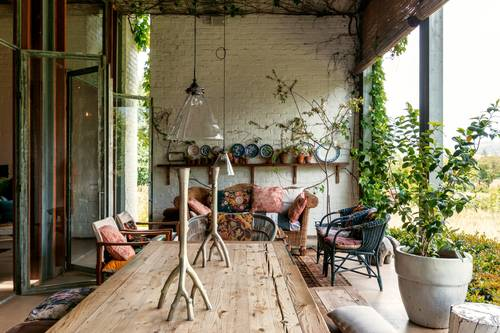 The rustic covered patio