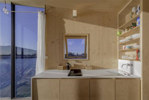 The small self-service kitchenette that comes with each cabin