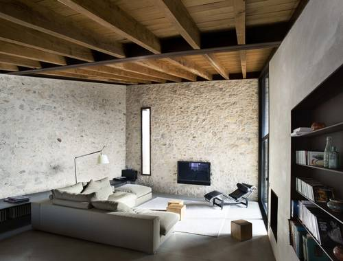 The concrete and stone lounge room
