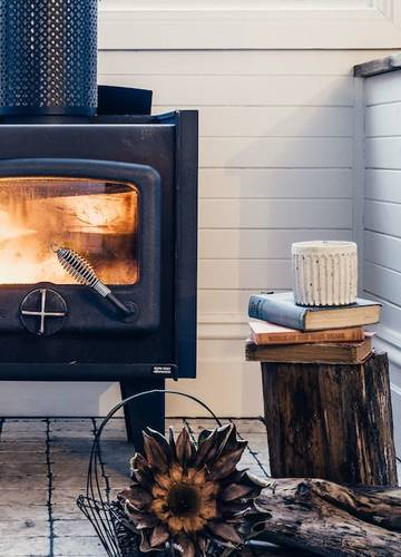 Cozy up to the wood-fired heater